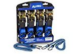 Ratchet Tie Down Straps – 4 Pk – 15 Ft- 500 Lbs Load Cap- 1500 Lb Break Strength- Cambuckle Alternative- Cargo Straps for Moving Appliances, Lawn Equipment, Motorcycle – Includes 2 Bungee Cord