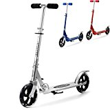 Ancheer Adult Teen Kick Scooter Portable Foldable Height-Adjustable | Ultra-Lightweight Easy Fold-n-Carry Design 2 Big Wheels City Urban Commuter Scooter for Kids Age 13 Up | 200 lbs Weight Capacity