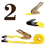 TWO Ratchet Strap Cargo Tie-Downs, 2″x27′ Heavy-Duty, Flat Hooks | Flatbed, Utility, Enclosed Trailers | Warehouses, Docks, Marinas