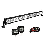 Enk 32 Inch 180W LED Work Light Bar Flood Spot Combo Beam Waterproof for Jeep Off-road SUV ATV Pickup Camper Boat Truck with 2 Pcs 18W LED Lights and Wiring Harness