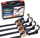 Heavy duty Ratchet Straps – Pro Set – 4 pack 15 ft 1760Lbs, Boat, ATV & Motorcycle Tie down straps, BONUS  Soft loops – Cargo Straps for moving equipment, kayak etc. Great Truck & Trailer Accessories