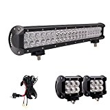 LED Light Bar, Northpole Light 20″ 126W Waterproof CREE Spot Flood Combo LED Light Bar with 2PCS 18W CREE Flood LED Work Lights and 12V 40A Wiring Harness for Off Road,Jeep, Truck, Car, ATV, SUV