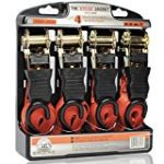 Ratchet Straps Tie-Downs | 4 pk Heavy-Duty Professional Strength | 500 lb Load Cap/ 1500 lb Break | Rubber Handle & 180° Hooks | Cargo Straps for Motorcycle, Truck, Trailer, Boat & Moving Equipment