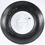 Trailer Tire + Rim 5.70-8 570-8 5.70 X 8 8″ LRB 4 Lug Hole Bolt White Wheel