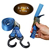 2 Motorcycle Kayak Tie-Down Cam Straps 1″ x 6′ Strong TieDown Straps with Durable Polyester and Vinyl-Coated S Hooks, Tie Down Cargo | For Pickup Bed, Moving Truck, Van, Trailer, by DC Cargo Mall