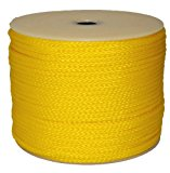 T.W . Evans Cordage 27-301 1/4-Inch by 250-Feet  Hollow Braid Polypro Rope, Yellow