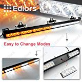 Ediors® 35.5″ LED 13 Modes Hazard Traffic Advisor Emergency Warning Tow Vehicle Auto Truck Strobe Light Bar Kit With Suction Cup (White/Yellow)