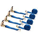 """4 Pack of 2"""" x 25' Ratchet Straps by Vault Cargo – Heavy Duty 10,000 lbs capacity strap perfect for hauling cars, motorcycles, and commercial equipment – Durable tie down with metal j-hooks."""