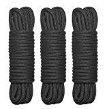 BONTIME All-Purpose Twisted Cotton Rope – 32 Feet Length,1/3 Inch Diameter,Black,Pack of 3