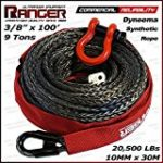 Ranger 3/8″ x 100′ Durable Dyneema Synthetic Winch Rope Cable 20,500LBs with Protective Sleeve by Ultranger