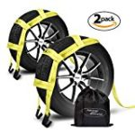 Tow Dolly Straps with Flat Hooks & Carrying Bag (2 Pack) – Essential Vehicle Tow Dolly Strap Harness (10.000 lbs Working Capacity) – Universal Tow Dolly Straps System & Flat Hook Design