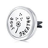 Mesinya Just Breathe (30mm) Air Freshener Diffuser Stainless Steel Car Vent Clip Aromatherapy Free Pads Essential Oil Car Diffuser Lockets