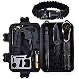 Emergency Survival Kit 11 in 1, XUANLAN Outdoor Survival Gear Tool with Survival Bracelet, Folding Knife, Compass, Emergency Blanket, Whistle, Tactical Pen for Camping, Hiking, Climbing, Trips