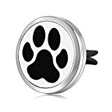 Mesinya Dog Paw (30mm) Air Freshener Diffuser Stainless Steel Car Vent clip Aromatherapy Essential Oil Car Diffuser Lockets (Style 2)